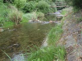 Pohled na potok v sousedství objektu