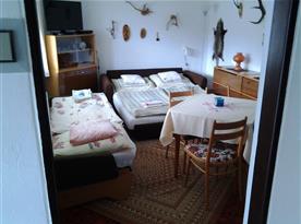Apartmán A - Lůžka v obývacím pokoji