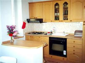 Kuchyně se sporákem, lednicí a varnou konvicí