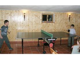 Společenská místnost se stolním tenisem v suterénu