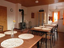 Společenská místnost se stoly, židlemi a krbem