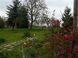 zahrada s kamenným chodníčkem