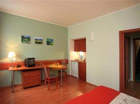 Pokoj s malou kuchyňkou a televizí