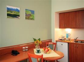 Pokoj s kuchyňkou, stolem a židlemi