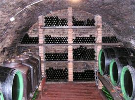 Vinný sklep se sudy