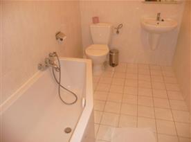 Koupelna s toaletou, vanou a umývadlem v apartmánu