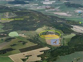 Letecký pohled na umístění objektu