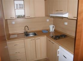 Kuchyně s vařičem, lednicí a mikrovlnou troubou