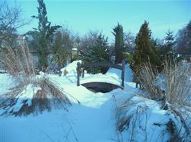 Pohled na zahradu penzionu v zimě