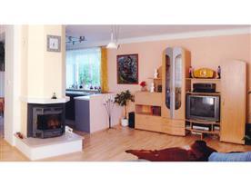 Obývací pokoj s obytnou stěnou, televizí a krbem