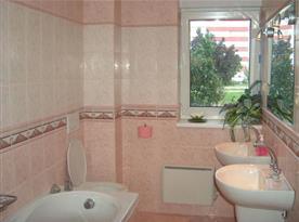 Moderně zařízená koupelna s vanou