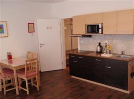 Kuchyně se sklokeramickou deskou, mikrovlnou troubou a lednicí