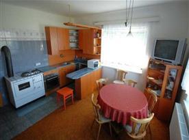Kuchyně se sporákem, vařičem, mikrovlnou troubou a lednicí