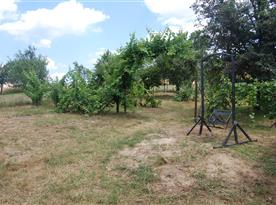Zahrada za chalupou s bazénem, posezením, trampolínou a vinohradem