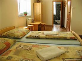 Pokoj s lůžky, nočním stolkem, skříní, televizí a koupelnou