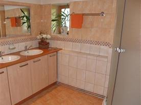 Sociální zařízení se sprchovým koutem a umývadlem