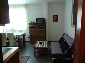 Pohovka, televizor a jídelní kout v rámci kuchyně
