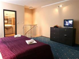 Apartmán s manželskou postelí, koupelnou a televizí