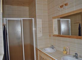 Koupelna se sprchovým koutem, umývadlem a zrcadlem