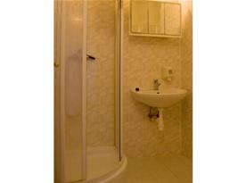 Sociální zařízení se sprchou a umývadlem