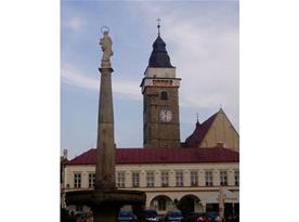 Pohled na historické náměstí s monumentálním sloupem