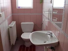 Toaleta s umyvadlem a zrcadlem