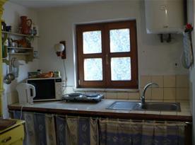 Kuchyně s linkou, dřezem, dvouplotýnkovým vařičem a mikrovlnnou troubou