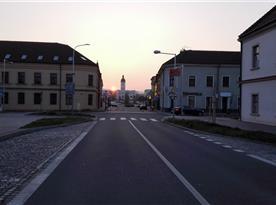 Večerní pohled na kyjovské náměstí