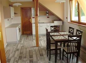 Kuchyně s linkou, lednicí, sporákem, troubou, mikrovlnou troubou a rychlovarnou konvicí