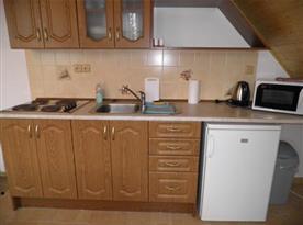 Kuchyně s linkou, lednicí, čtyřplotýnkovým vařičem, mikrovlnou troubou a rychlovarnou konvicí