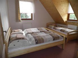 Podkrovní ložnice s lůžky v apartmánu