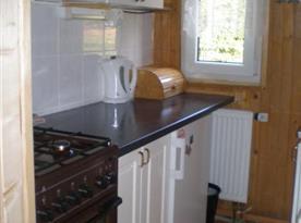 Kuchyňka v přízemí s linkou, lednicí, sporákem, mikrovlnou troubou a rychlovarnou konvicí