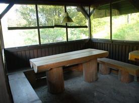 Pohled na dřevěné posezení v salaši u objektu