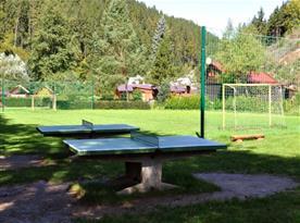 Travnaté hřiště a pin pong stoly