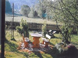 Pohled na zahradní posezení