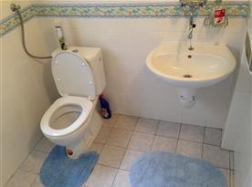 Sociální zařízení s toaletou, umyvadlem a sprchovým koutem