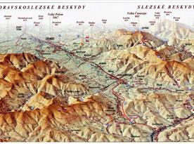 Mapa Moravskoslezské Beskydy