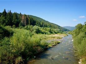 Rieka Bystrica, ktorá je vzdialená od Cyklo Chaty len 50 m