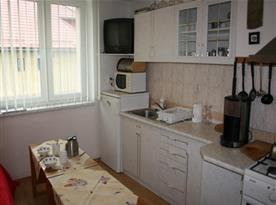 Kuchyně s linkou, lednicí, sporákem a rychlovarnou konvicí