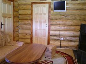 Obývací pokoj se sedací soupravou, krbem, televizorem, satelitem a DVD přehrávačem