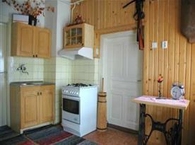 Kuchyně s dřezem, sporákem, lednicí, mikrovlnou troubou a rychlovarnou konvicí