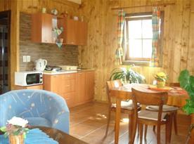Kuchyně s linkou, dvouplotýnkovým vařičem, lednicí, mikrovlnou troubou a varnou konvicí