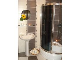 Koupelna s toaletou, sprchovým koutem, umývadlem a zrcadlem