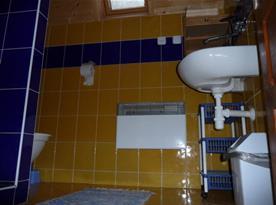 Sociální zařízení se sprchou, umyvadlem, zrcadlem a WC