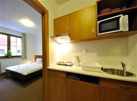 Pohled do apartmánu s kuchyňkou, ložnicí a sociálním zařízením