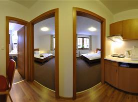 Apartmán s dvoma spálňami a kuchyňou
