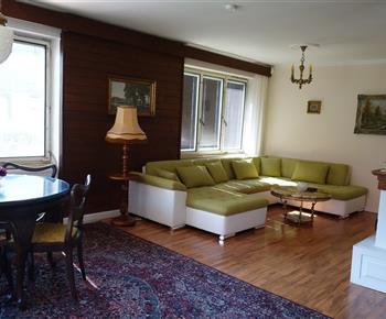 Společenská místnost s televizí a krbem