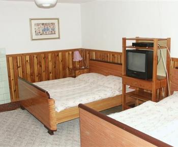 Obývací pokoj s ložnicí, lůžky, televizí a satelitem