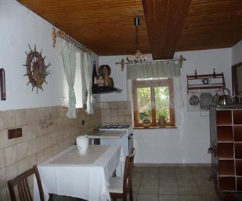 Kuchyně se stolem, lednicí, varnou konvicí