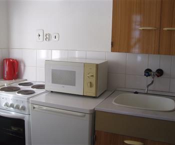 Kuchyně s mikrovlnnou troubou, sporákem a lednicí